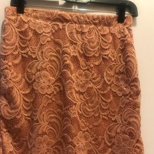 Super cute rose colored  Lace skirt